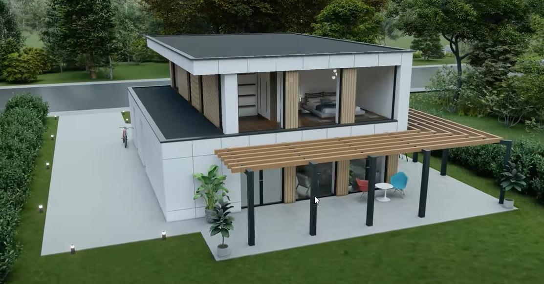 Moderne woning gebouwd met zeecontainers